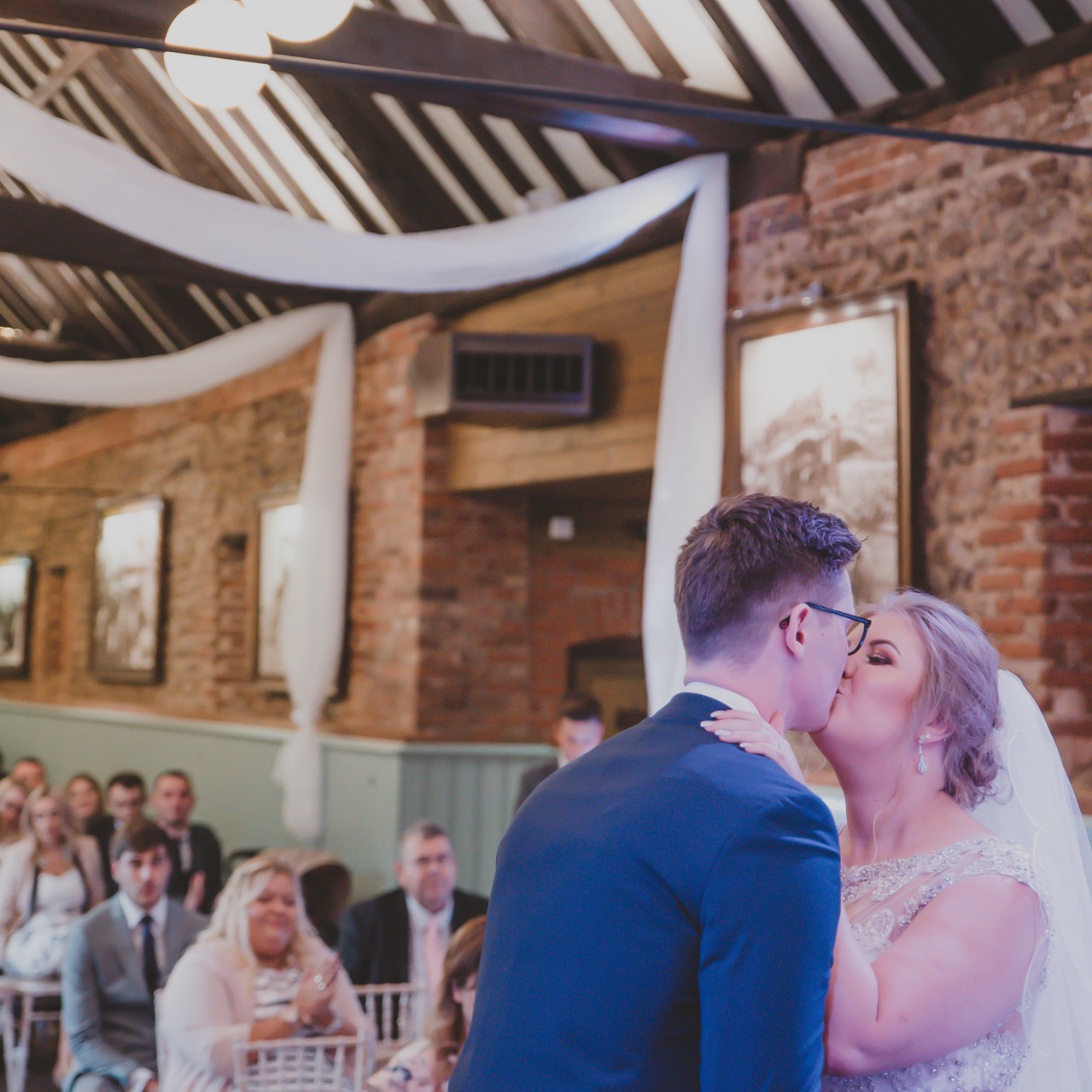 Fay Wedding - Thursford Collection at the Garden Pavilion, Norfolk. 1st Kiss