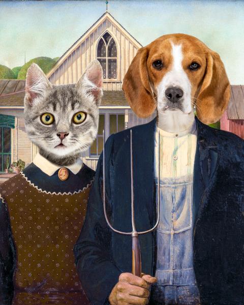 American Gothic pet portrait