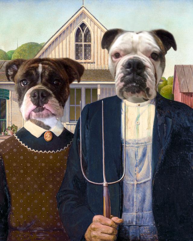 American Gothic dog portrait