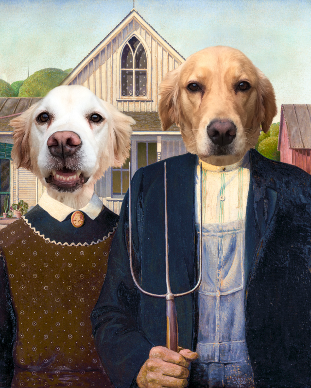 American Gothic dog couple portrait