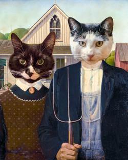 American Gothic cat portrait
