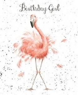 wrendale flamingo card