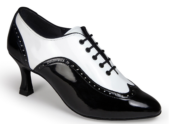 International Dance Shoes (Ladies Rogue - Black/White Patent)