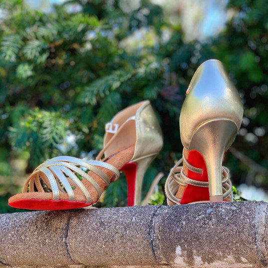 222 Model -Gold Leather/ Red Sole