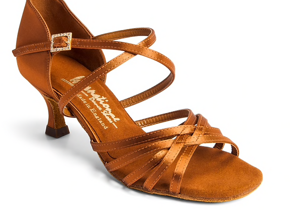 "Flavia Tan Satin(2."" Flared Heel)"