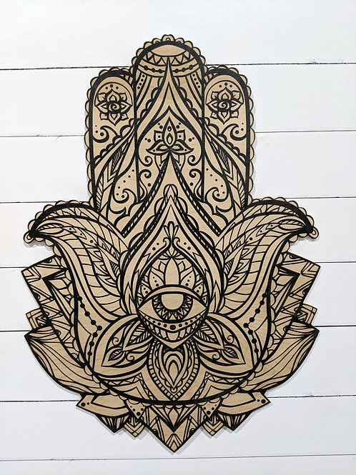 Printed Wood Hamsa - Black