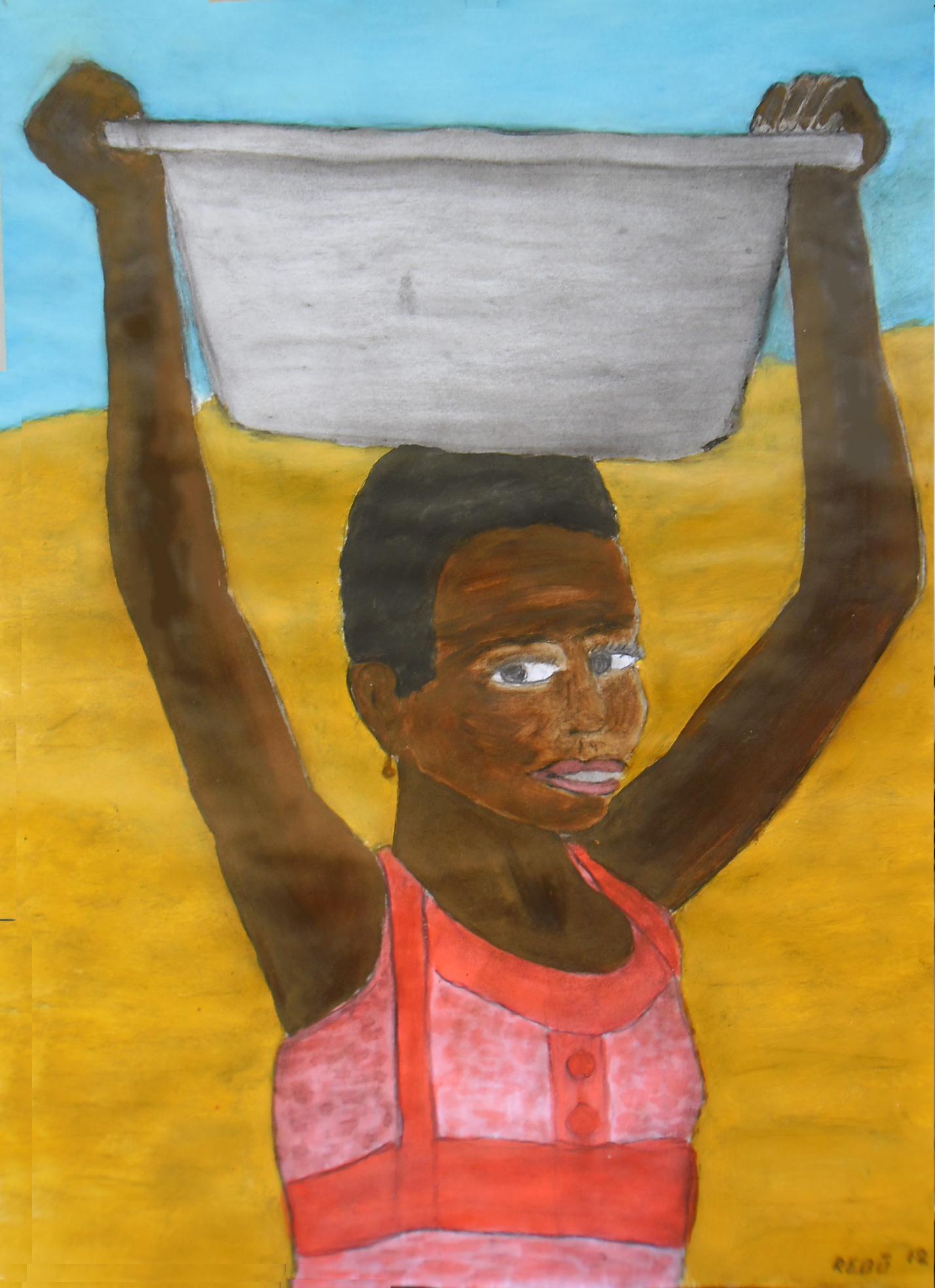 Afrika 2 Kohle Gouache auf Papier 50x70c