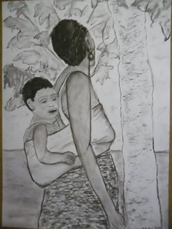 Afrika 8 Kohle auf Papier 50x70cm