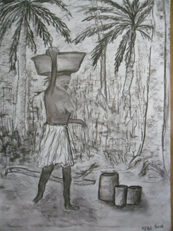 Afrika 7 Kohle auf Papier 50x70cm
