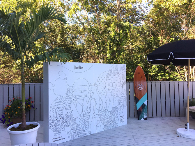 R29 Beach House: Freestanding PVC Wall, Acrylic Sign, Custom Surfboards, and CAD Cut Decals