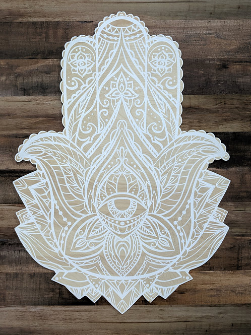 Printed Wood Hamsa - White