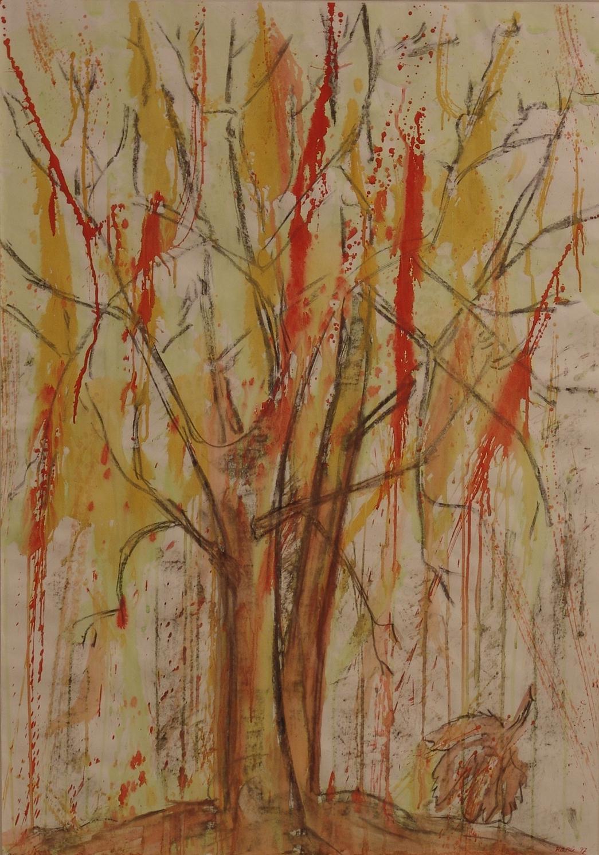 Herbst 50x70cm Kohle, Gouache auf Papier