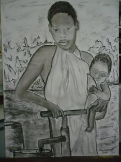Afrika 9 Kohle auf Papier 50x70cm