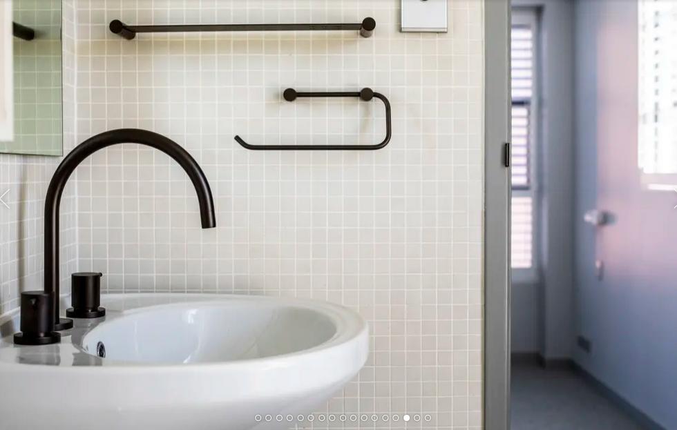 Updated bathroom fixtures in apartment at Bellevue Street, Surry Hills