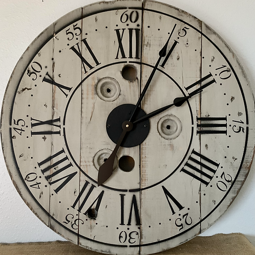 "24""Wooden Spool Clock"