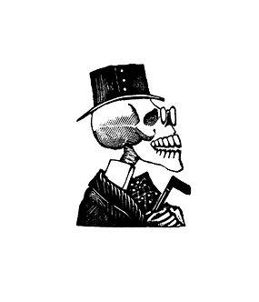V618 Posada Skeleton man wearing top hat (small or large)
