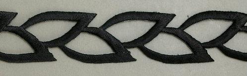 Black Iron-on Applique Open Leaf Trim