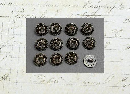 Bronze Metal Flower Buttons