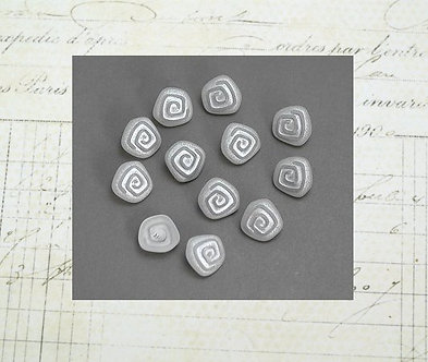 Silvery Spiral Buttons