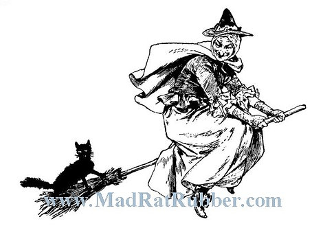 V651 Witch on Broom with Cat