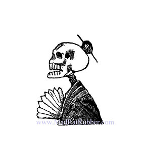 V619 Posada Skeleton woman with fan (small or large)