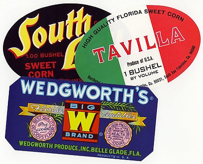 Vintage Corn & Vegetable Labels