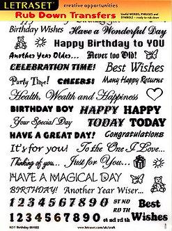 Letraset Birthday Rub Down Transfers