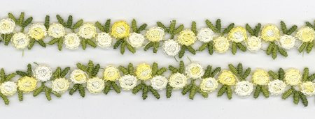 Yellow & Green Lace Flower Trim