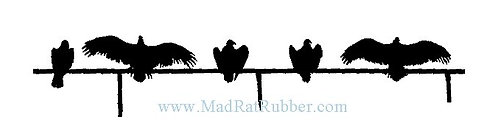 M180 Vultures on Fence Silhouette