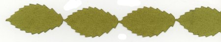 Faux Suede Leaves Ribbon - Olive Green