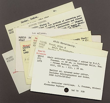 Decommissioned Library Catalog Index Cards