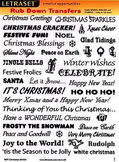 Letraset Christmas Phrases Rub Down Transfers
