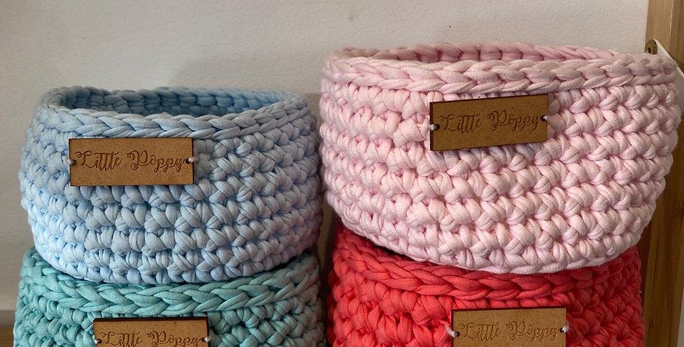 Little Poppy Crochet Basket - Assorted Colours