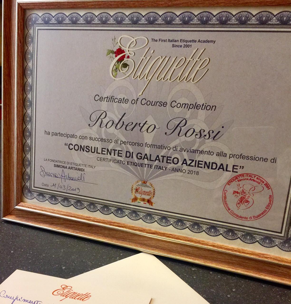 Etiquette Italy Certification