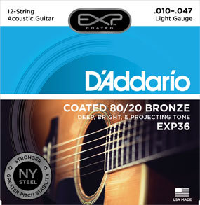 D'Addario EXP36 Coated 80/20 Bronze 12-String Acoustic Guitar Strings Light