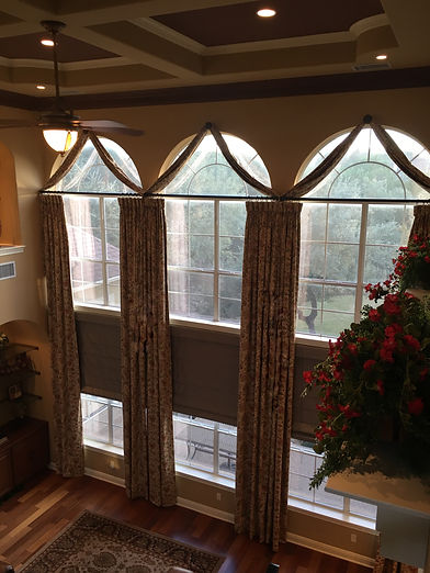6 custom 18 foot panels fully lined with goblet heading in custom home (27 ft ceilings). window treatments in Austin, TX