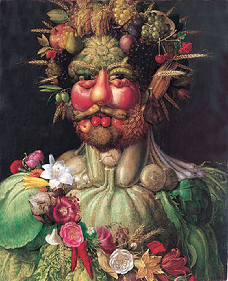 ertumnus is an oil painting produced by Giuseppe Arcimboldo in 1591 that consists of multiple fruits, vegetables and flowers that come together to create a self-portrait of Holy Roman Emperor Rudolf II.