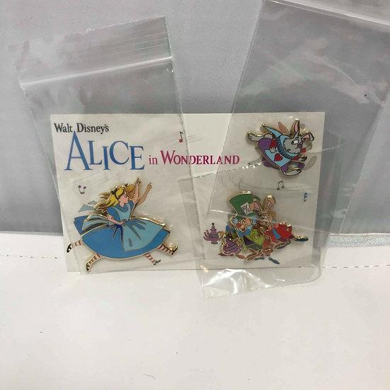 Alice in Wonderland Vintage Card LE 300 3 Pin Set Mad Hatter Shopping Store