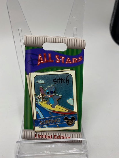 Stitch Surfing All Star Trading Card LE 4000 Pin DLR WDW