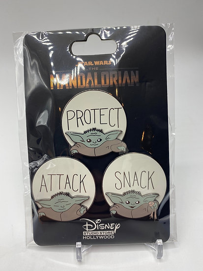The Mandalorian Protect Snack Attack 3 Pin LE 400 Set DSF DSSH Asset Yoda