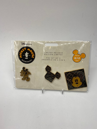 Mickey Mouse Memories August 3 Pin Set Black Gold 1980s Disney Store