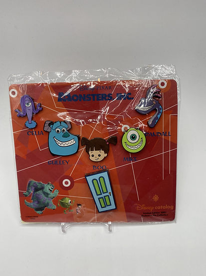 Monsters Inc. LE 2001 Card 6 Pin Set Boo Sulley Shopping Store Catalog