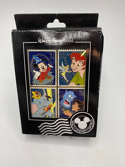 US Postal Service Stamps LE 500 4 Pin Box Set Peter Pan Dumbo Aladdin Mickey WDW
