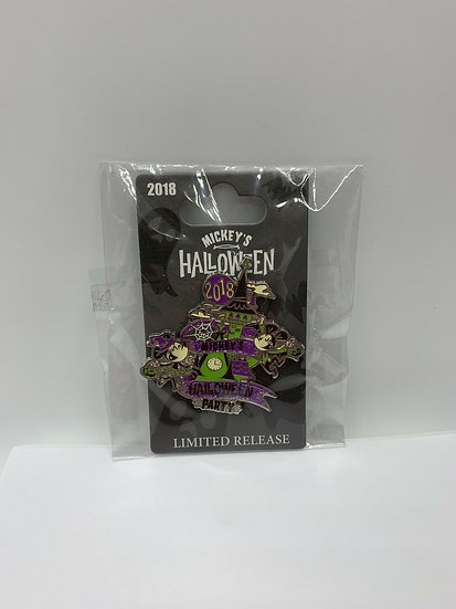 Mickey's Halloween Party DLR 2018 Logo Pin Limited Release LR Castle
