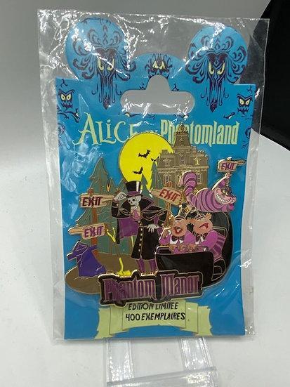 Alice in Phantomland LE 400 Jumbo Disney Paris DLP Pin Phantom Manor Cheshire
