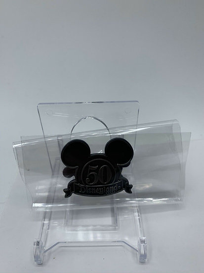 Mickey Mouse Head DLR Disneyland Retro Collection Silver 50 Logo Framed Pin