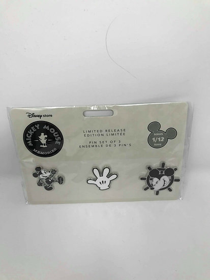 Mickey Mouse Memories 3 Pin Set January 1/12 Classic Icon Store Shopping