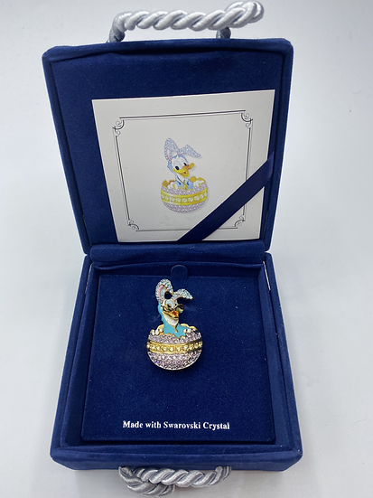 Donald Duck as Easter Bunny Swarovski Crystal LE 1000 Brooch Pin DLR WDW