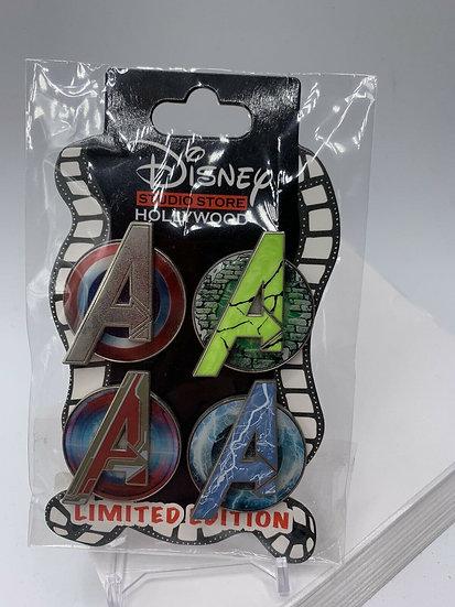 Marvel Avengers Age of Ultron 4 Pin LE 300 Logo Set DSF DSSH Iron Man Cap
