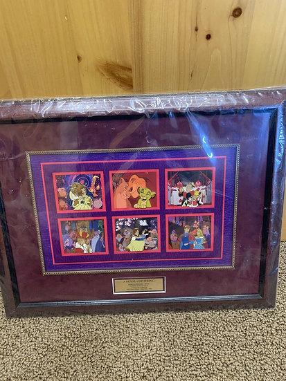 A Royal Family Pin Gathering WDW LE 75 Framed Pin Set Simba Belle Arthur